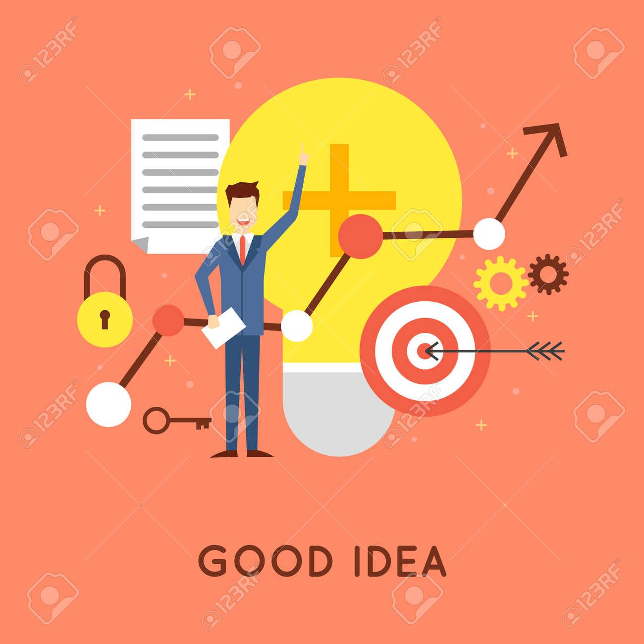 Good Idea Business Start Up Solution Inspiration Flat Design