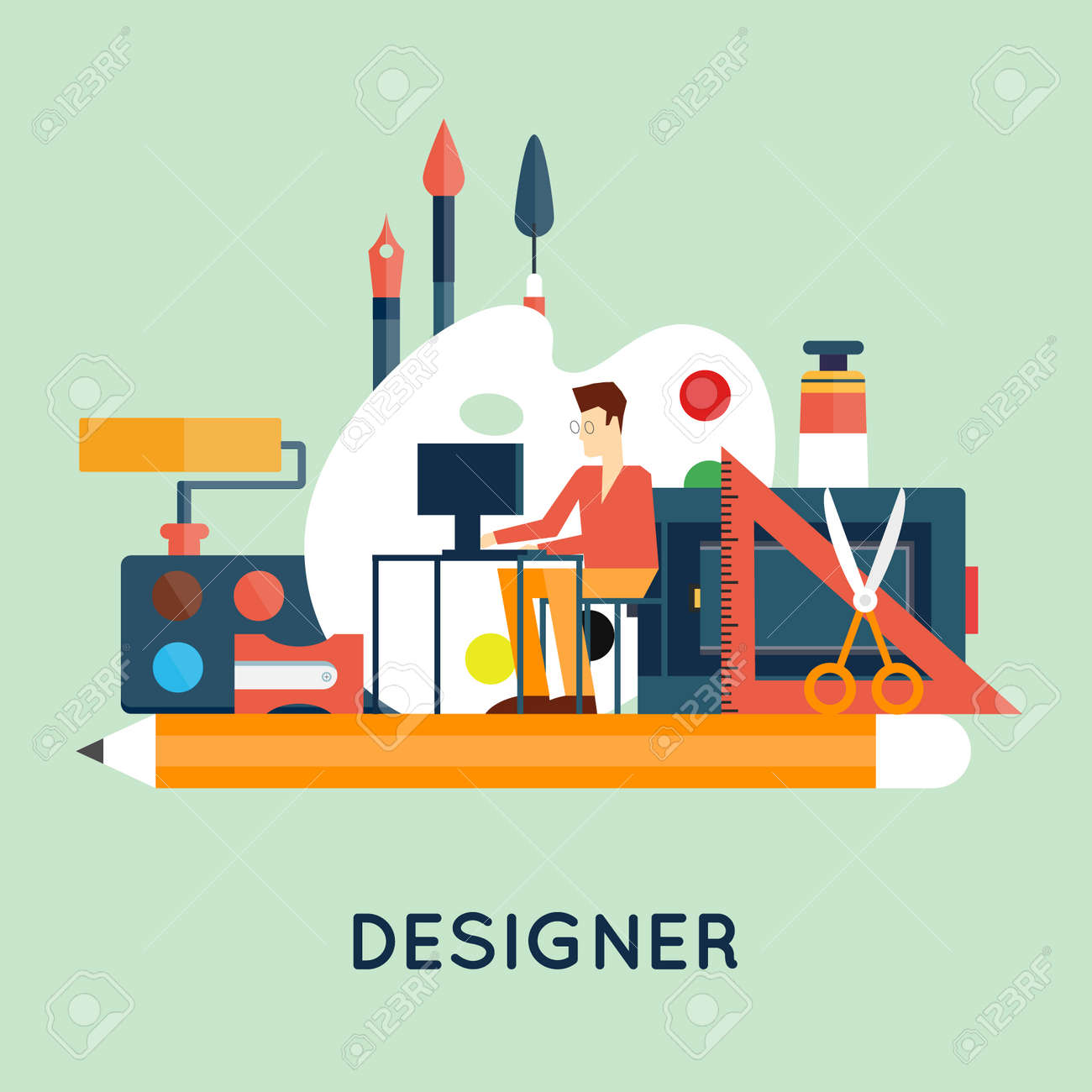Designer character and workspace with tools and devices in modern flat style. Creative process, logo and graphic design, design agency. Flat design vector illustration. - 48036195