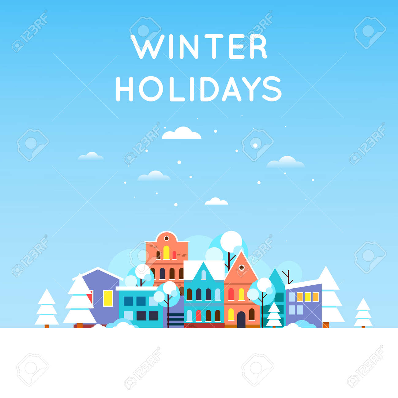Winter landscape of snow-covered city, Old city. New year. Flat design vector illustration. - 50309320