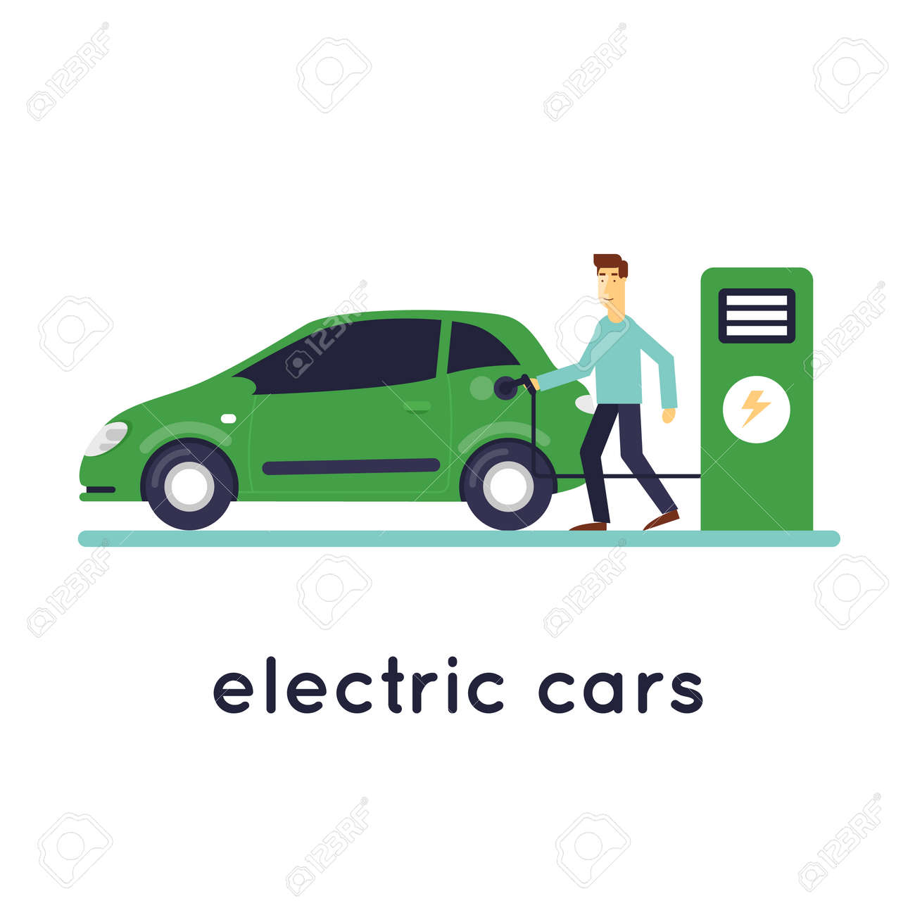 Man Charges Electric Cars Ecology Isolated On White Background