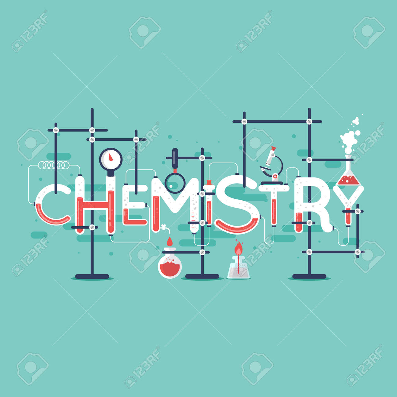 Poster design vector graphics - Chemistry Info Graphic Typographic Poster Banner Flat Design Vector Illustration Stock