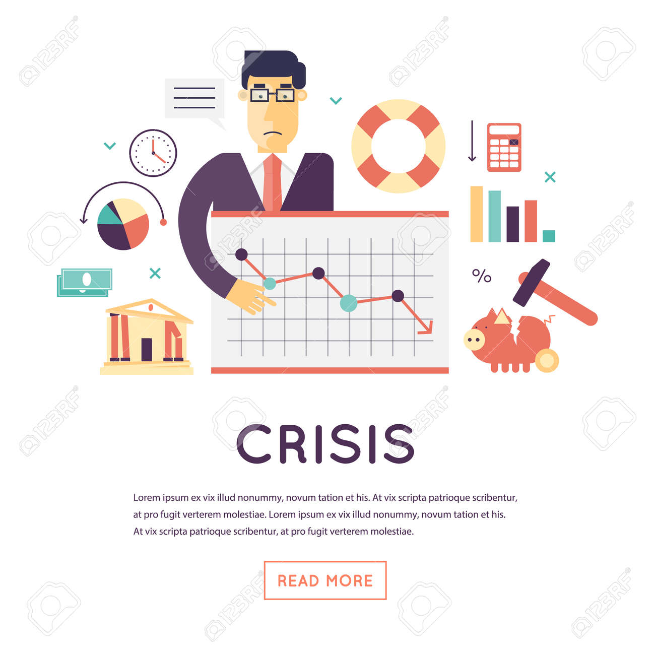 Crisis economic, falling graph of a stock market, financial crisis, bankruptcy. Flat design vector illustration isolated on white background. - 51274193