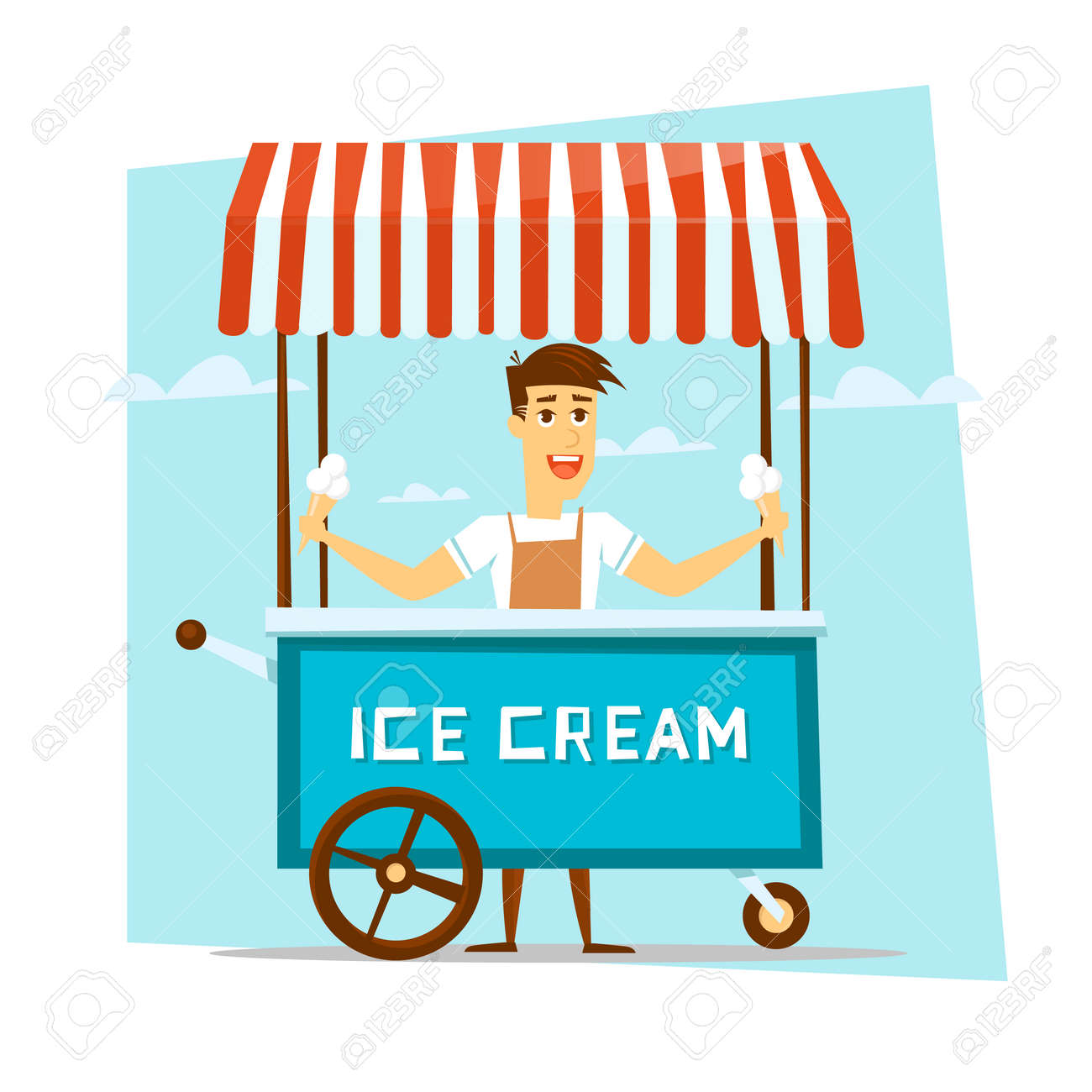 Happy smiling ice cream seller with cart. Cartoon character. Vector Illustration. - 52266519