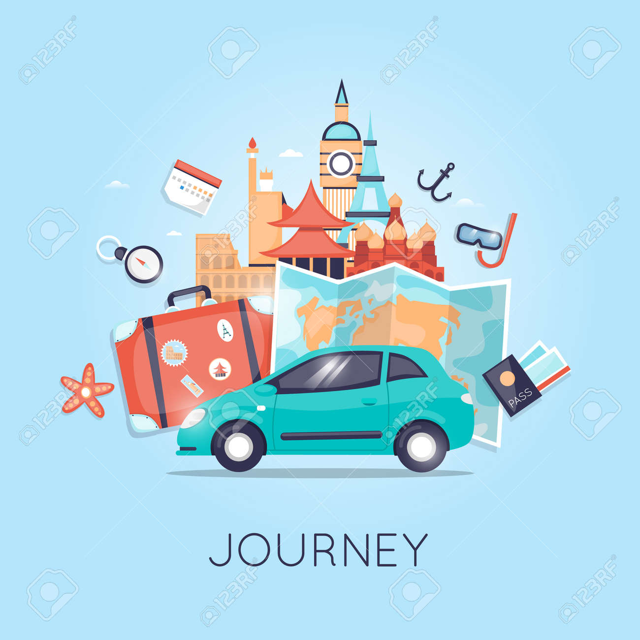 Travel by car Russia, USA, Japan, France, England, Italy. World Travel. Planning summer vacations. Summer holiday. Tourism and vacation theme. Flat design vector - 54975740
