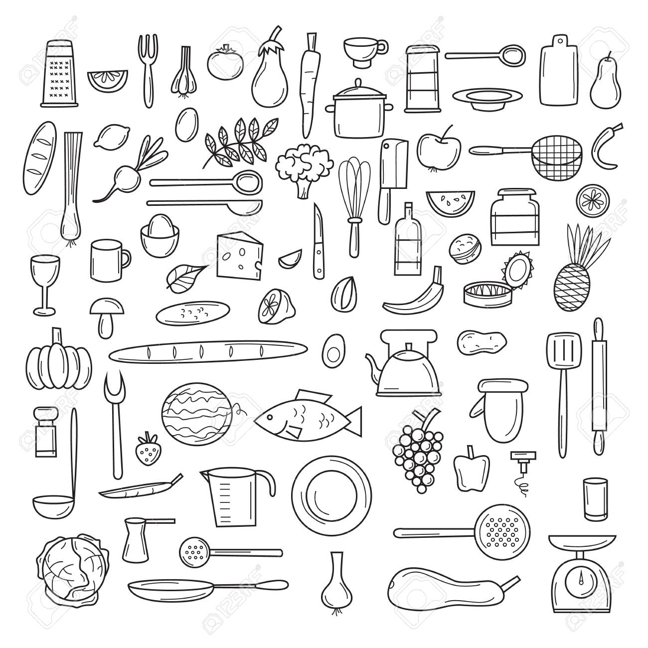 Kitchen tools, fruits, vegetables, thin line, cooking, utensils and cutlery. Icons set. - 56147006