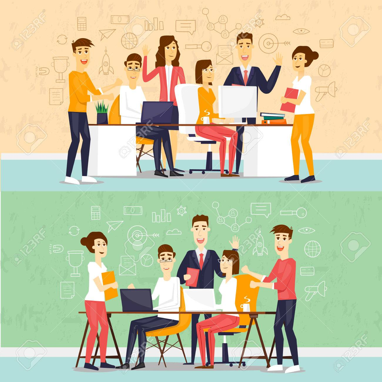Coworking people, business meeting, teamwork, business, collaboration and discussion, meeting around a conference table, brainstorm. Flat design vector illustration. - 56147009