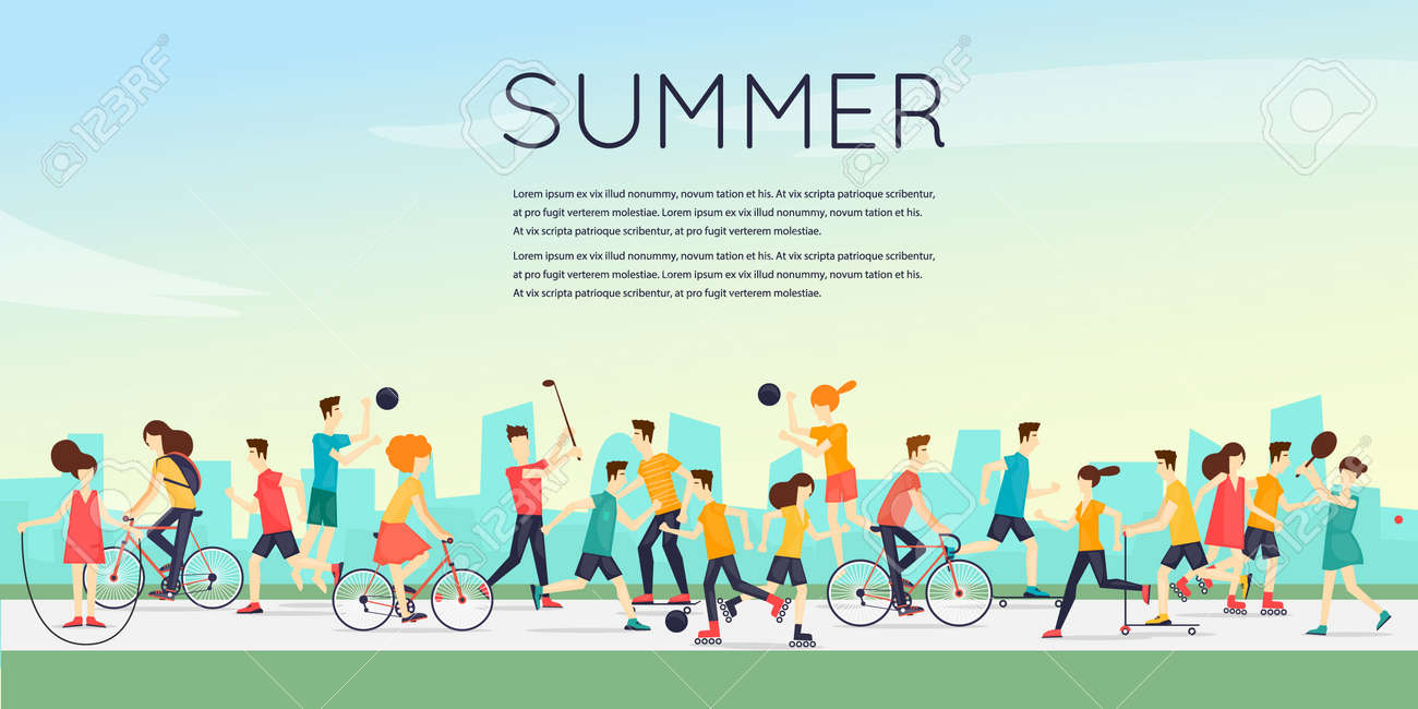 Physical activity people engaged in outdoor sports, running, cycling, skateboarding, roller skating, kayaks, tennis, sailing, surfing, summer. Flat design vector illustration. - 56147024