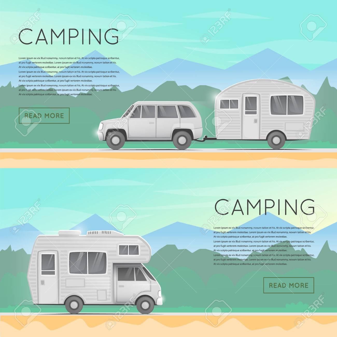 Wandern Und Outdoor Wald Camping Camper Anhanger Familie Sommer