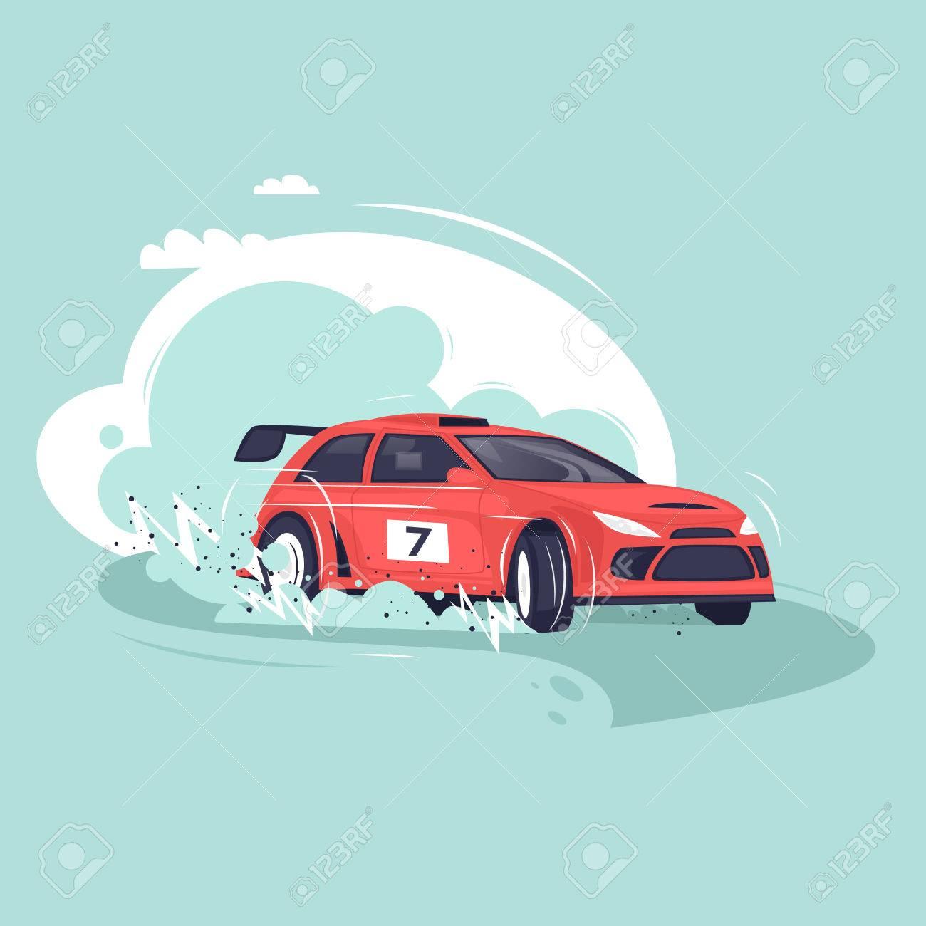 Rally car. Flat vector illustration in cartoon style. - 70872101