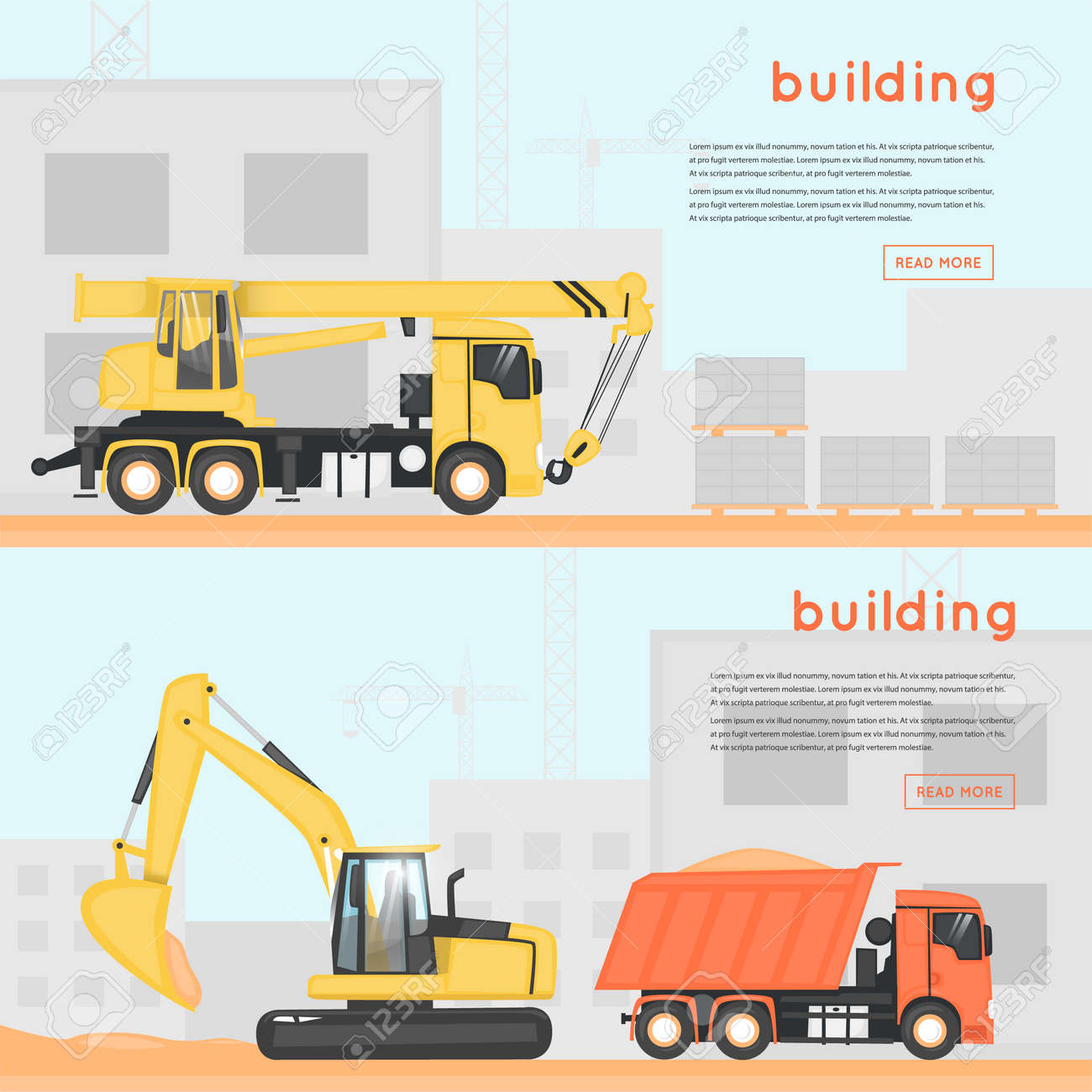 Construction Equipment Banners Personalised Birthday Banners