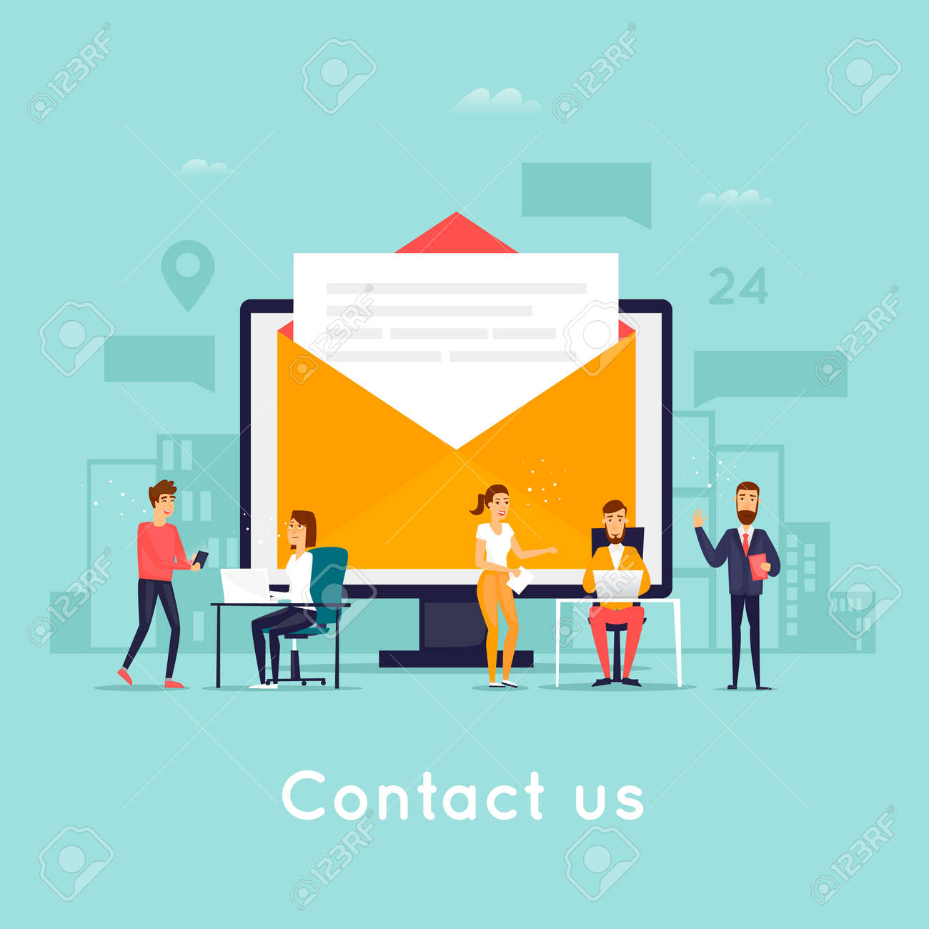 Contact us. Business people. Flat design vector illustration. - 87660965