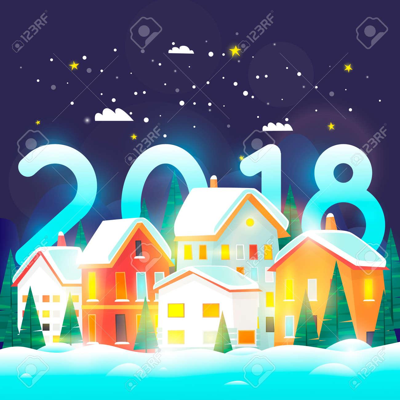 noel 2018 a la neige Paysage De Ville D'hiver. 2018. Joyeux Noël Et Bonne Année. Urbain  noel 2018 a la neige