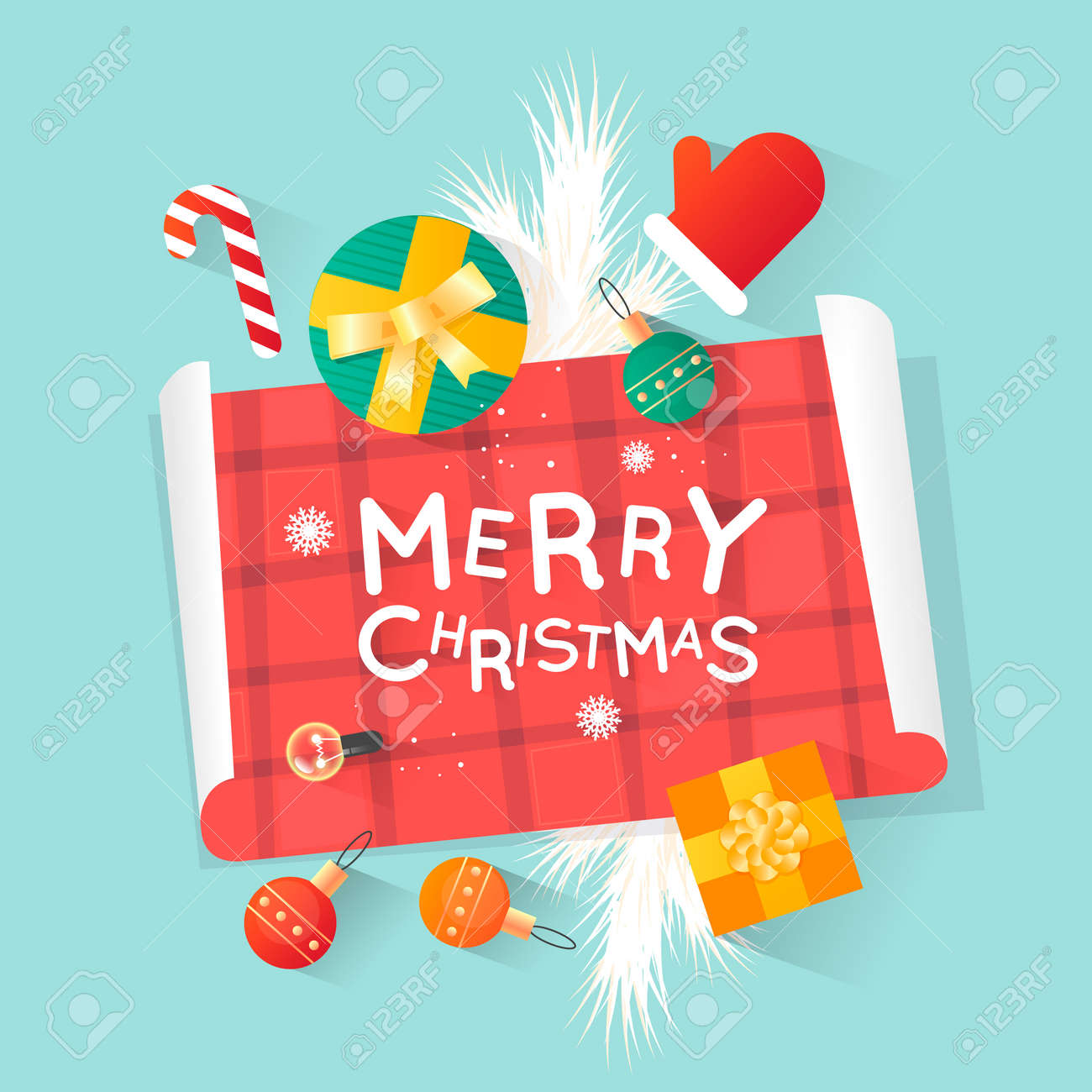 Merry Christmas and Happy New Year. New Year's toys, gifts on the table top view and text. Postcard, banner, printed matter, greeting card. Flat design. - 88701343