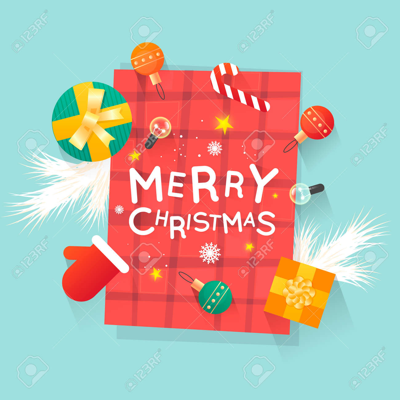 Merry Christmas and Happy New Year. New Year's toys, gifts on the table top view and text. Postcard, banner, printed matter, greeting card. Flat design. - 88701521
