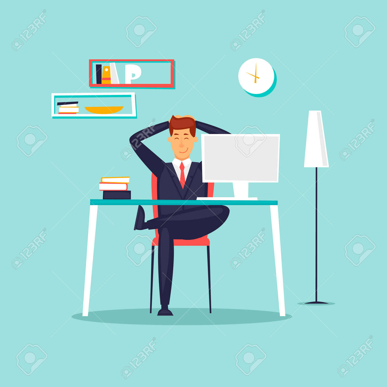 Happy businessman working in the office at the computer, workplace, interior. Flat design vector illustration. - 90992721