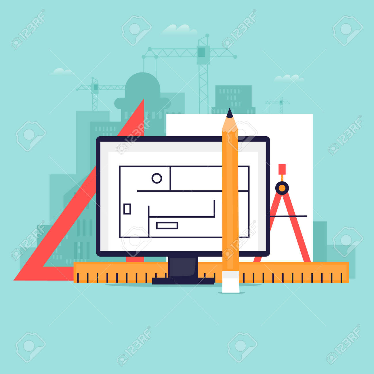 Architect, Tools. Project Design. Workplace. Flat Design Vector  Illustration. Stock Vector