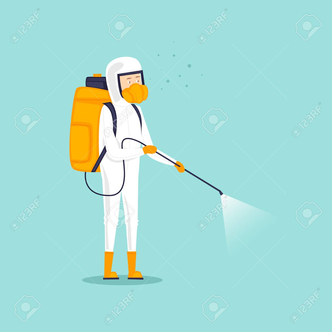 Chemical treatment insects. Man in uniform with face mask spray pesticides. Flat design vector illustration. - 91810534