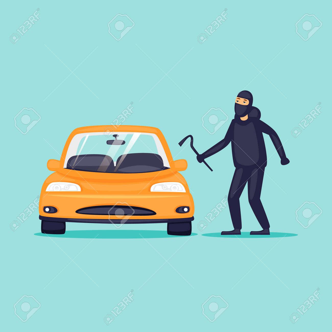 Thief steals cars, insurance. Flat design vector illustration. - 92949307