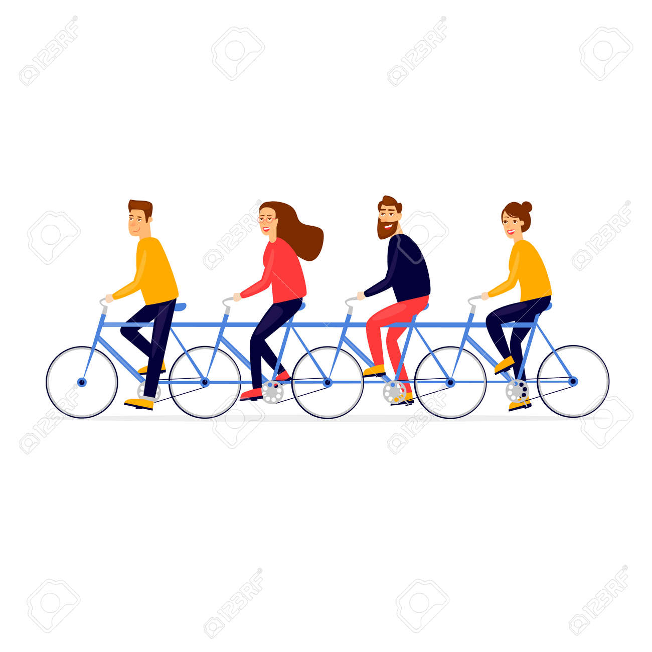 Teamwork business people traveling by bicycle. Flat vector illustration in cartoon style. - 93953283