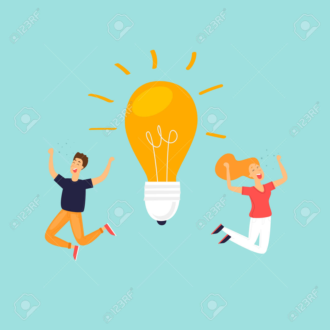 idea success in business happy people flat design vector illustration royalty free cliparts vectors and stock illustration image 97997494 idea success in business happy people flat design vector illustration