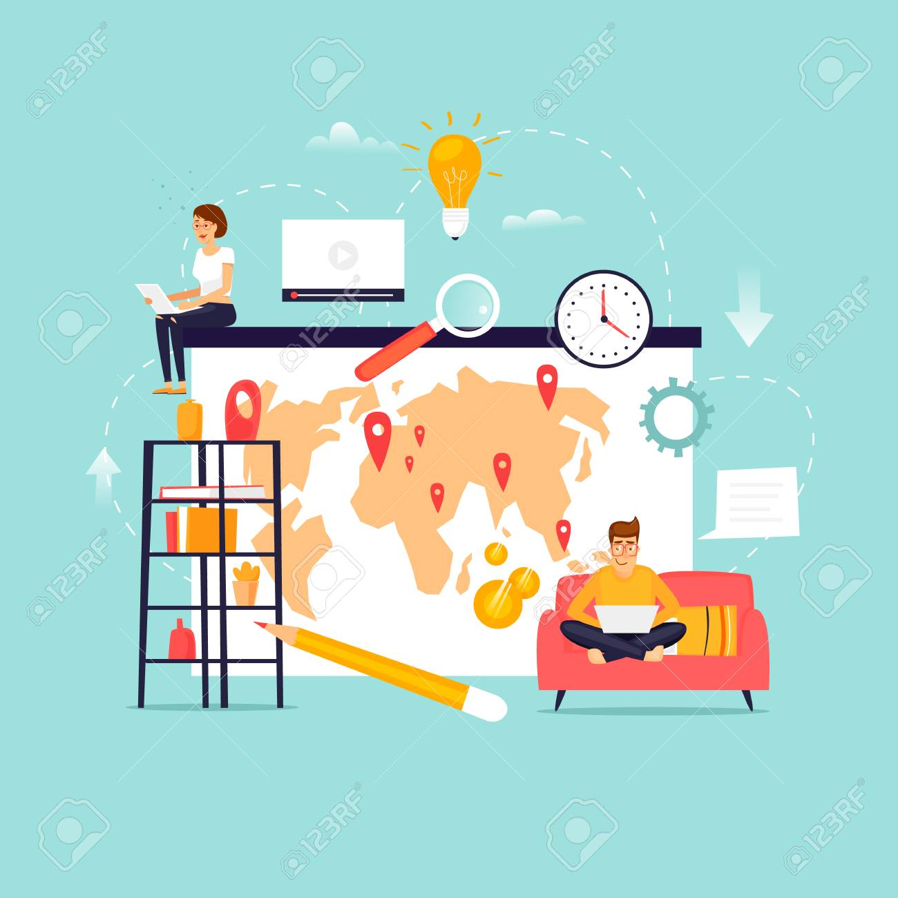 home ofice work home office. Team Working. Home Office. Flat Design Vector Illustration. Ofice Work Office