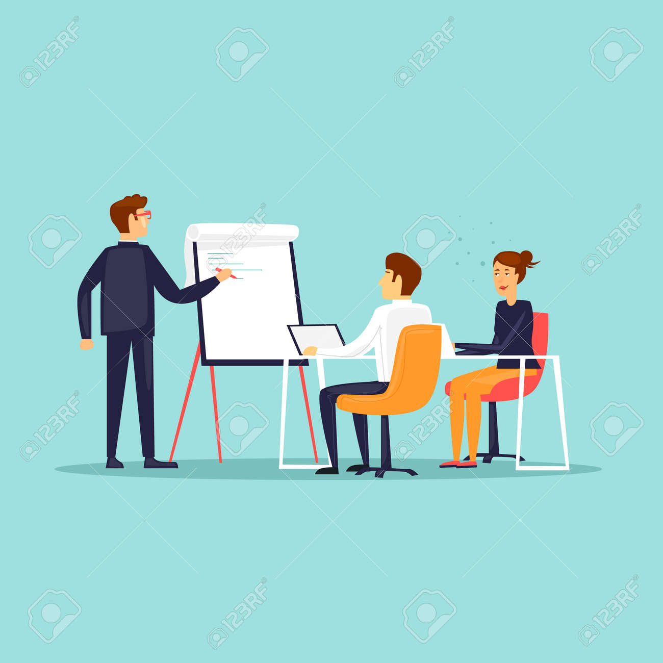 Business training or office meeting flat design vector illustration. - 100084303