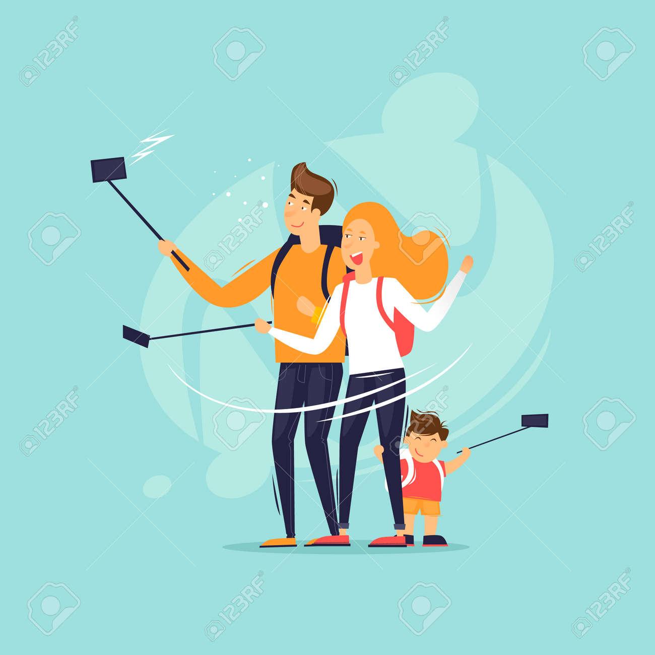 Family makes a selfie on a journey. Flat design vector illustration. - 101626962
