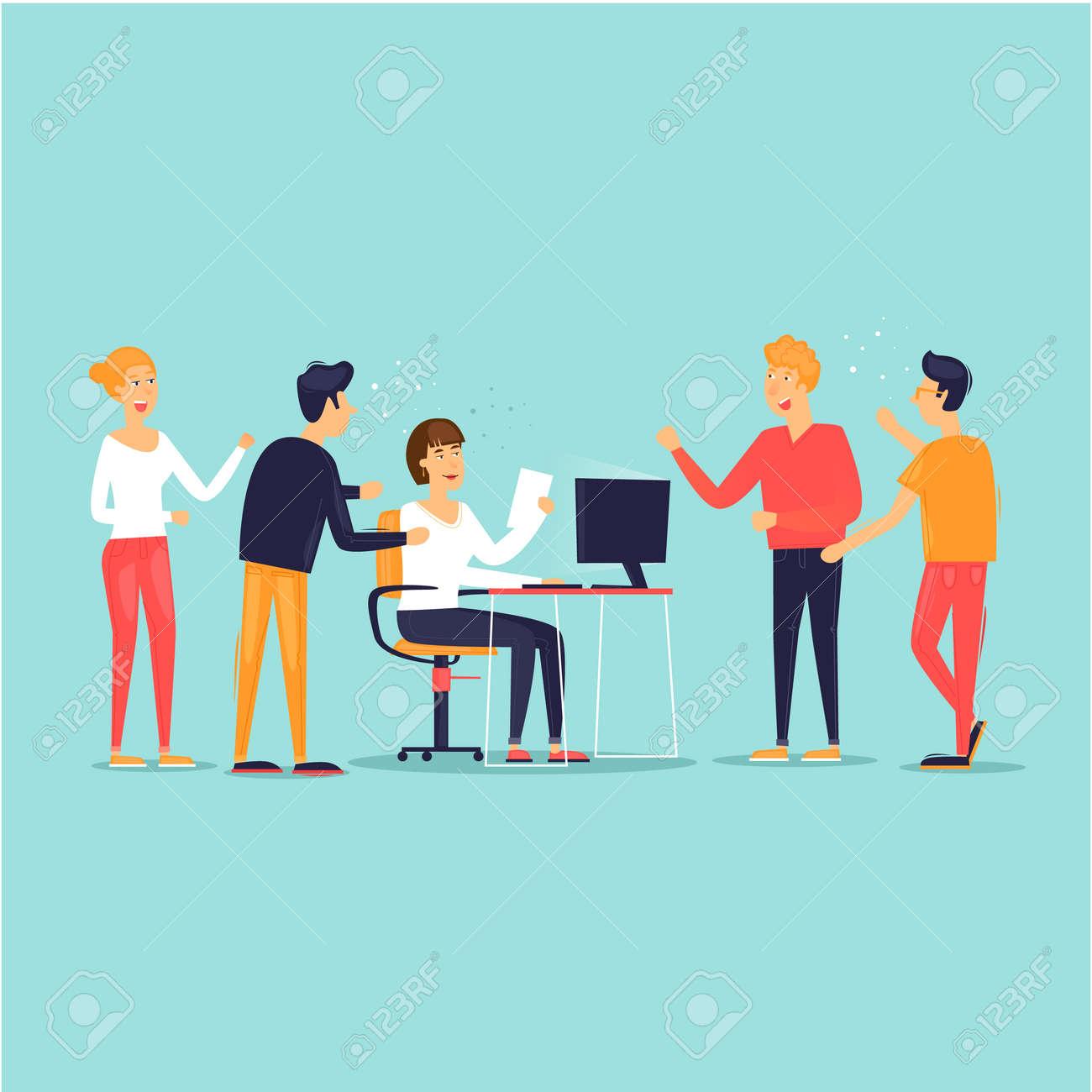 Teamwork, startup, support, data analysis, brainstorming, meeting. Flat design vector illustration. - 106105033