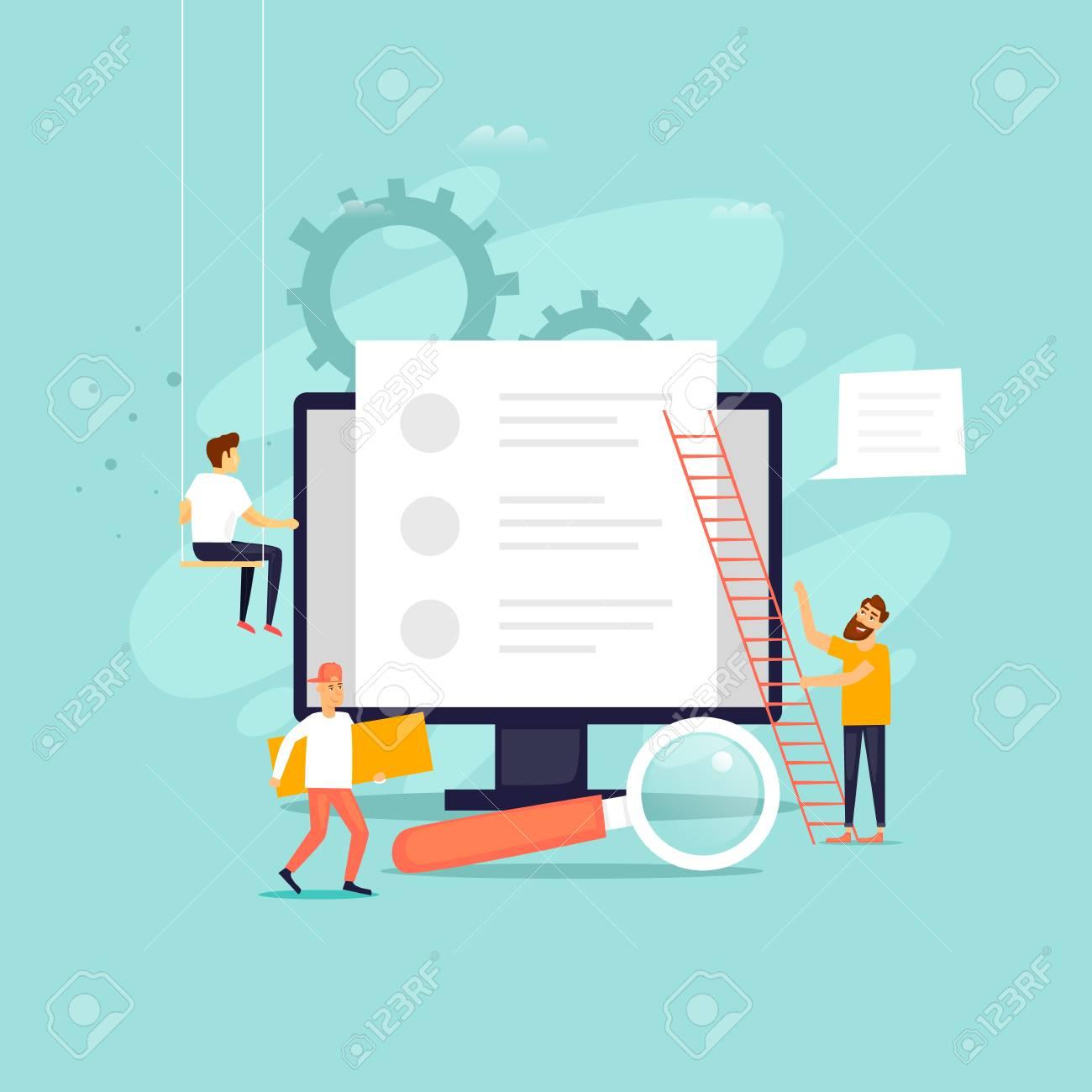 Copyright, blogging, people work near a computer, Internet. Flat design vector illustration. - 106684414