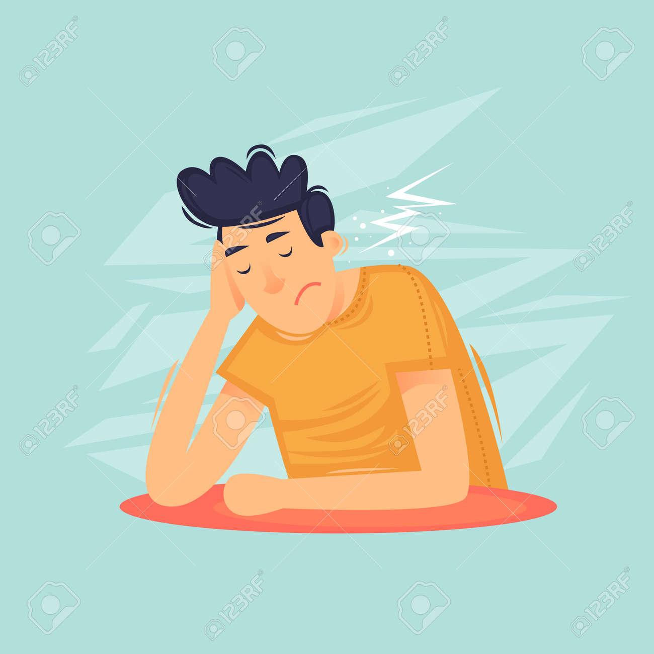 Guy is sad, depressed, tears. Flat design vector illustration - 112582474