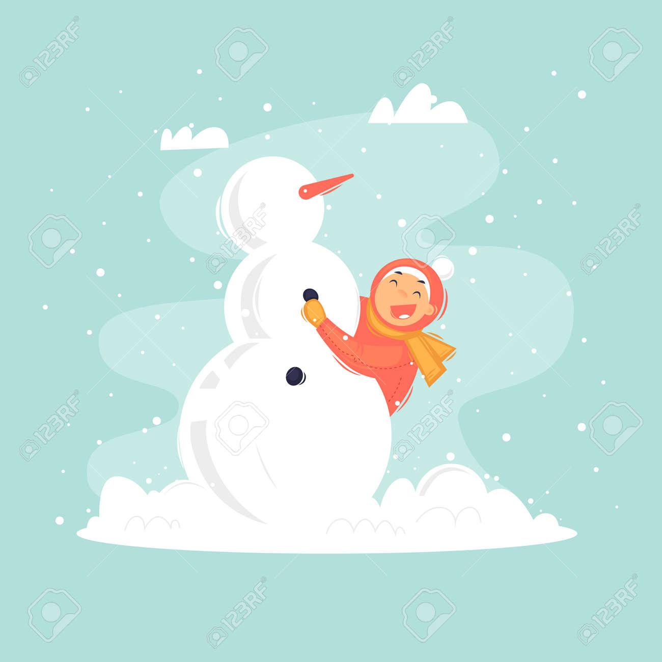 Child sculpts a snowman, winter. Flat vector illustration in cartoon style. - 112582757