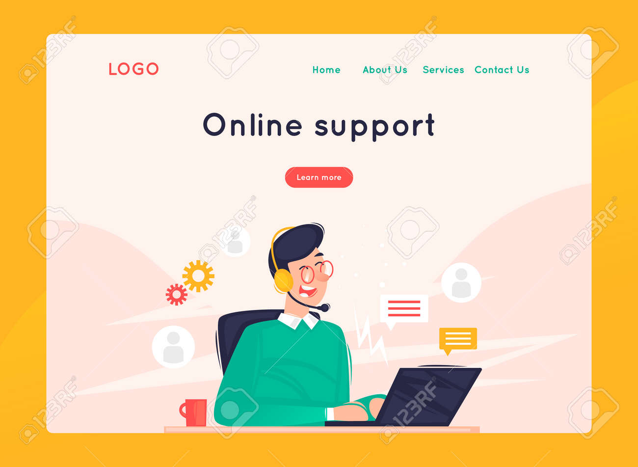 Site template, Online support, 24 hours, man answers questions. Web page design. Website and mobile development. Flat vector illustration in cartoon style. - 112874100