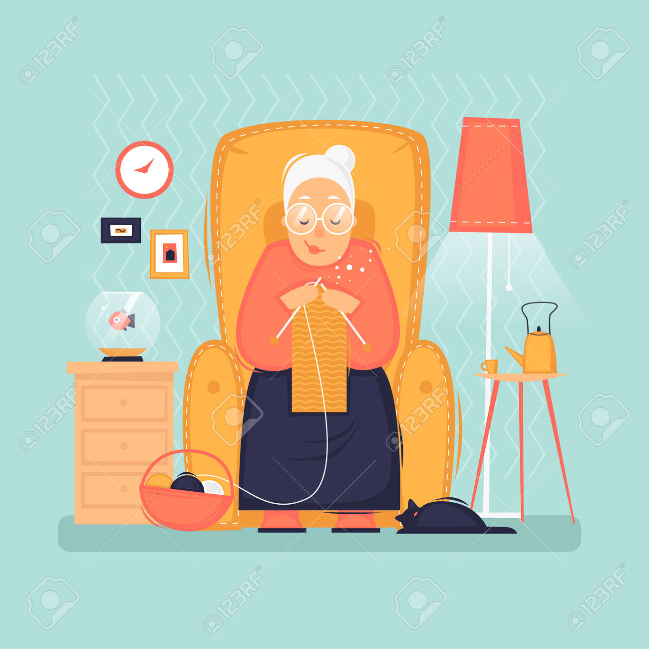 Grandmother sits in a chair knits, pensioner, interior. Flat vector illustration in cartoon style. - 114175333