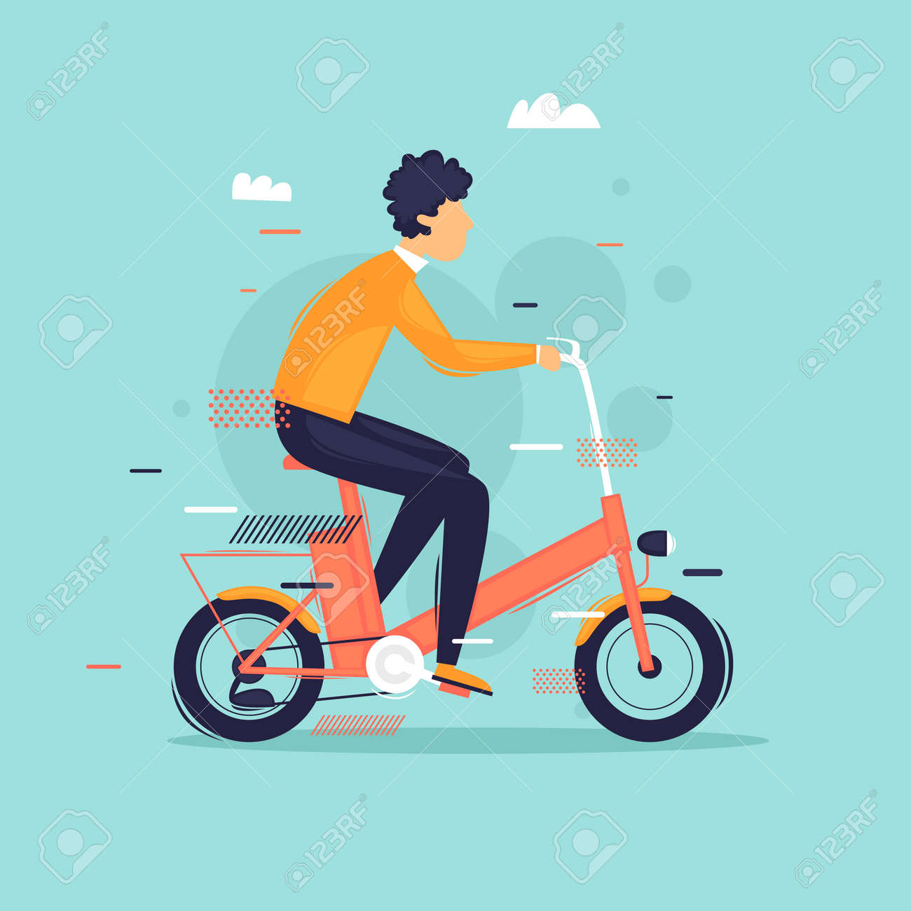 Man riding an electric bike. Flat design vector illustration. - 120569937
