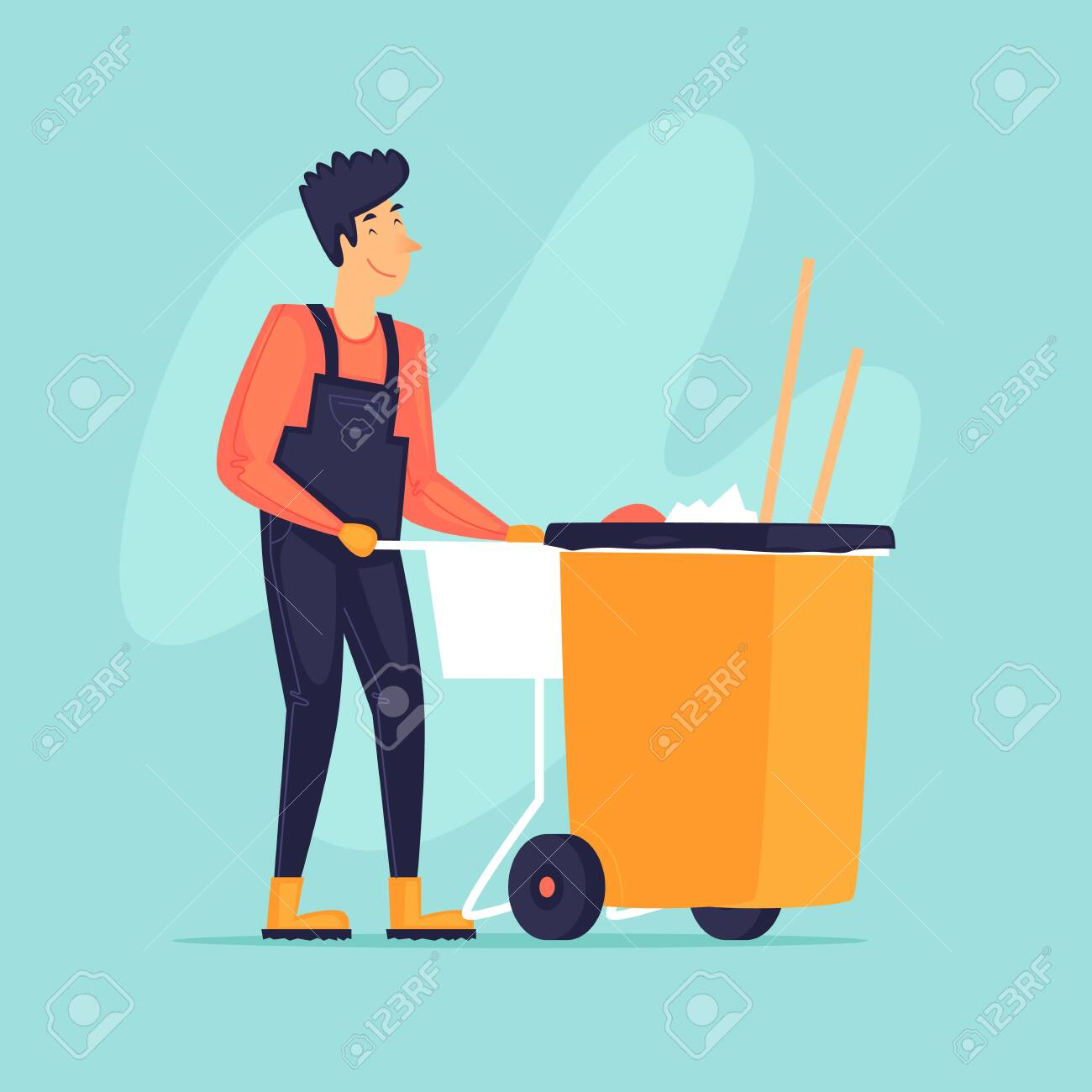 Street cleaning, a man drags a container, a cleaner. Flat design vector illustration. - 142938679