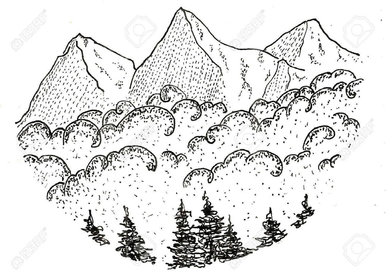 Sketch 07 Mountain View Stock Photo Picture And Royalty Free
