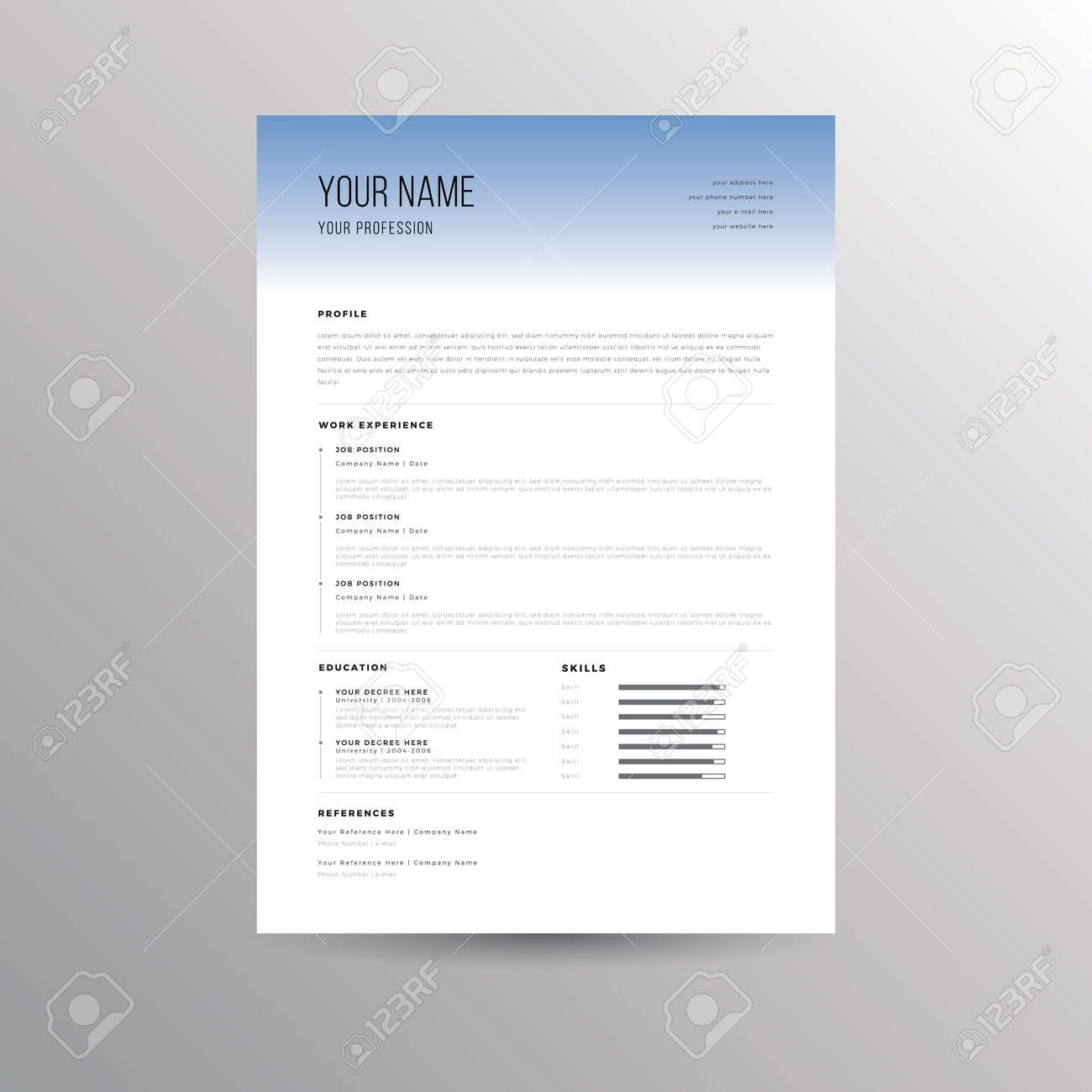 Cv Resume Vorlage Für Bewerbungen Lizenzfrei Nutzbare