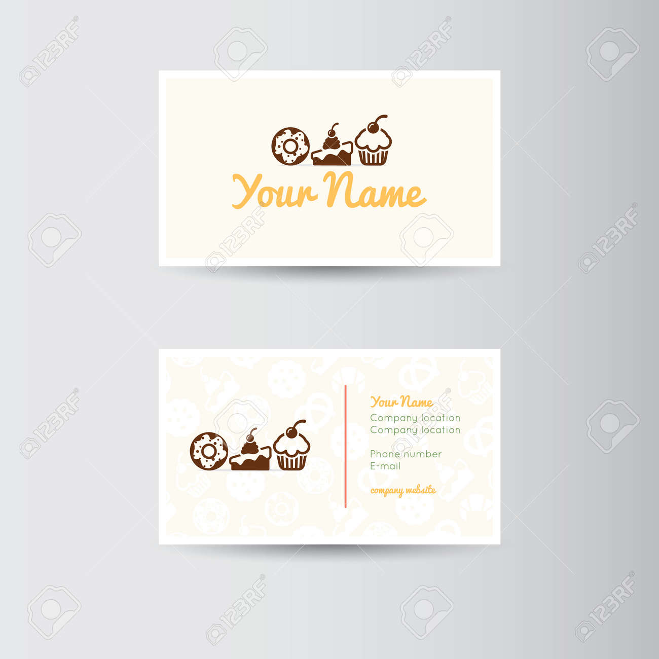 Simple Business Card For Bakery Or Cake Shop Business Royalty Free ...