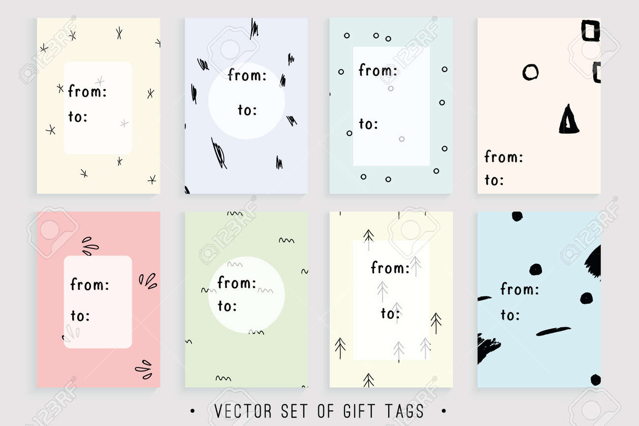 image relating to Printable Gift Labels called Vector variety of 8 printable reward tags relevant for any trip..