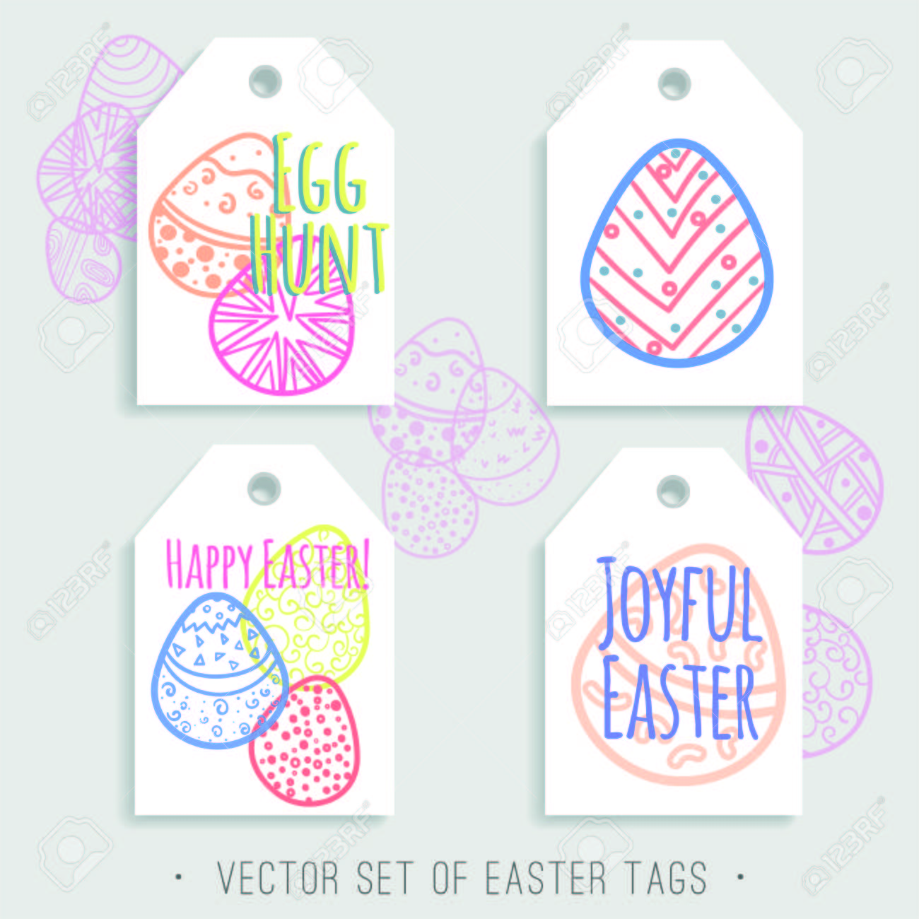 image relating to Printable Easter Tags titled Vector fixed of printable Easter tags with vivid eggs. Blue, crimson,..