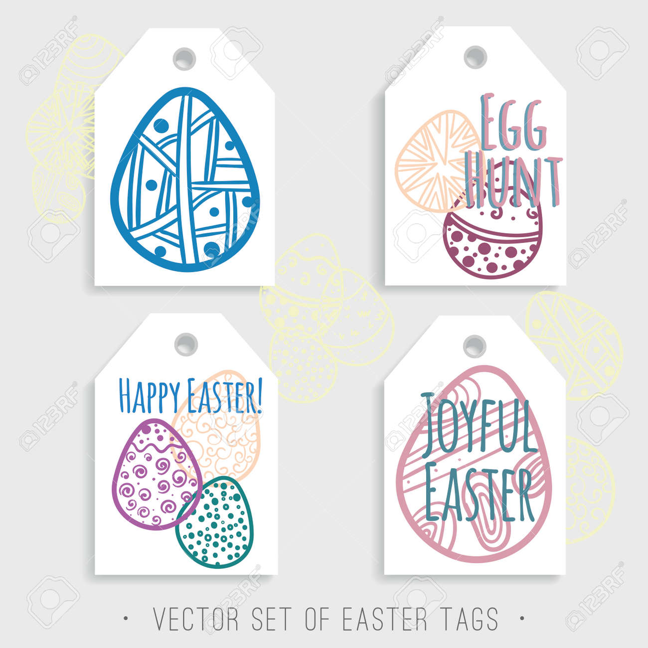 picture relating to Printable Easter Tag identified as Vector Established of printable Easter tags with vibrant eggs. Blue, crimson,..