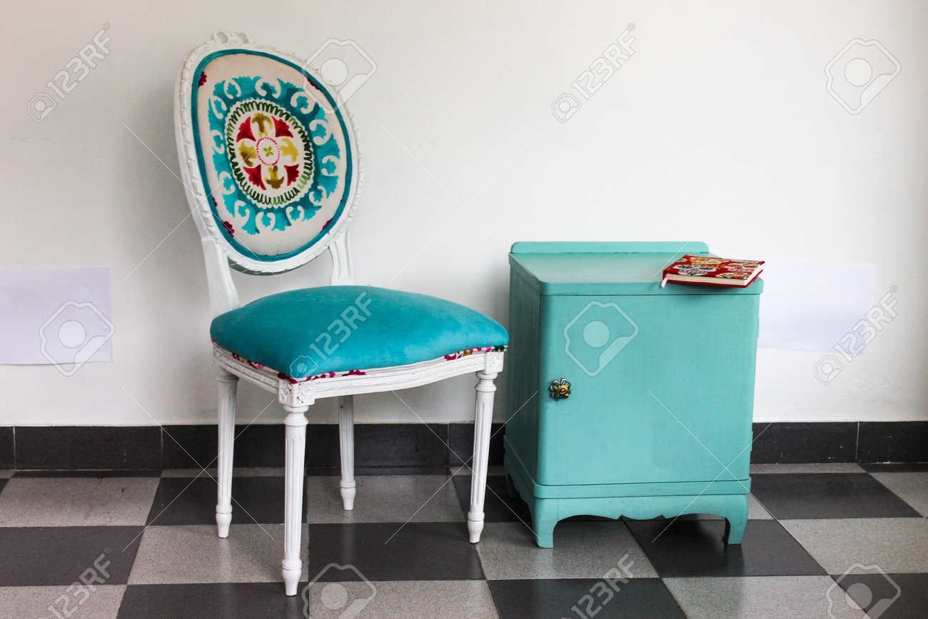 French Chair A Bedside Table In Blue Stock Photo   78350886