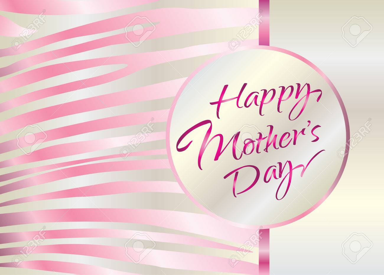 Happy Mothers Day Pink Lettering Calligraphy Abstract Background Digital Illustration Art Print