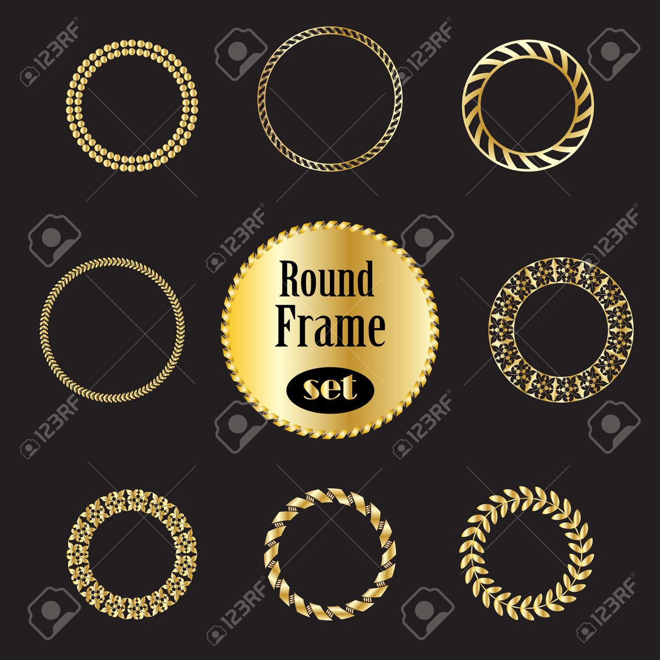 f0a9d051b6c Vector - Vintage gold frames set. Gold frames and borders isolated on black  background.