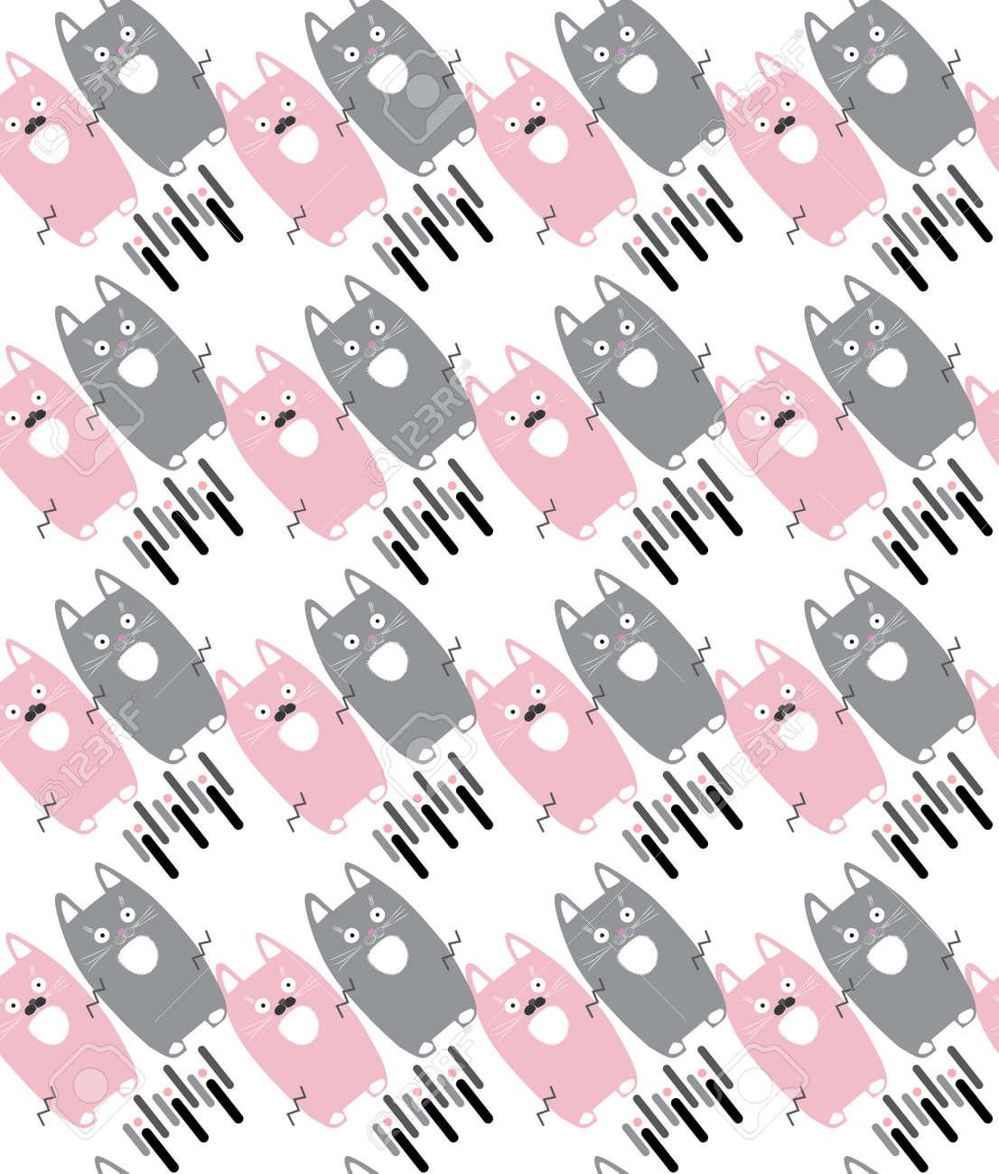 Gato. Gatos. lindos gatitos aislados en fondo blanco, sin fisuras patrón.  Ilustración del vector. Modelo lindo de los gatos de color rosa y gris ...