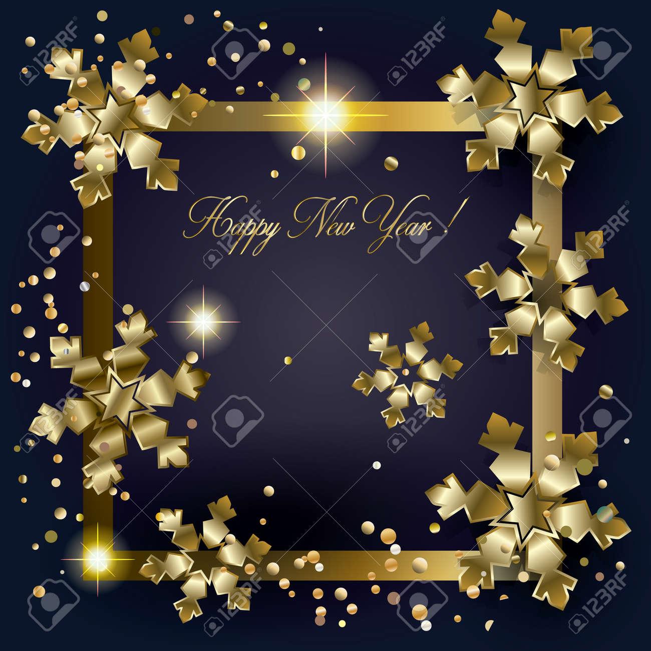 Weihnachten. Frohe Weihnachten Und Happy New Year Grußkarte Mit Gold ...
