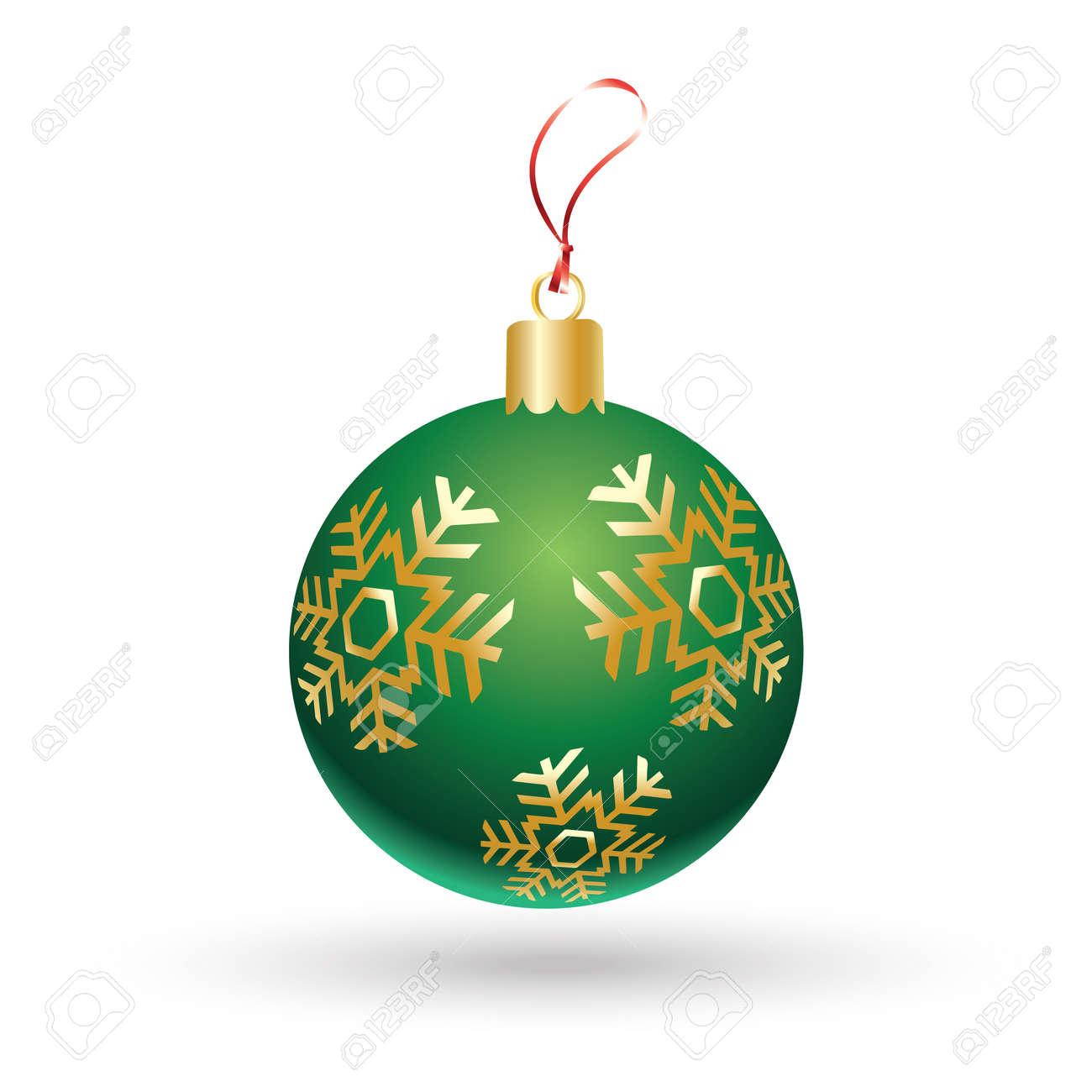 Foto Fiocchi Di Natale.Palla Di Natale Sfera Verde Di Natale Con I Fiocchi Di Neve Dell Oro Isolati Su Priorita Bassa Bianca Icona Di Vettore Per Progettazione Di