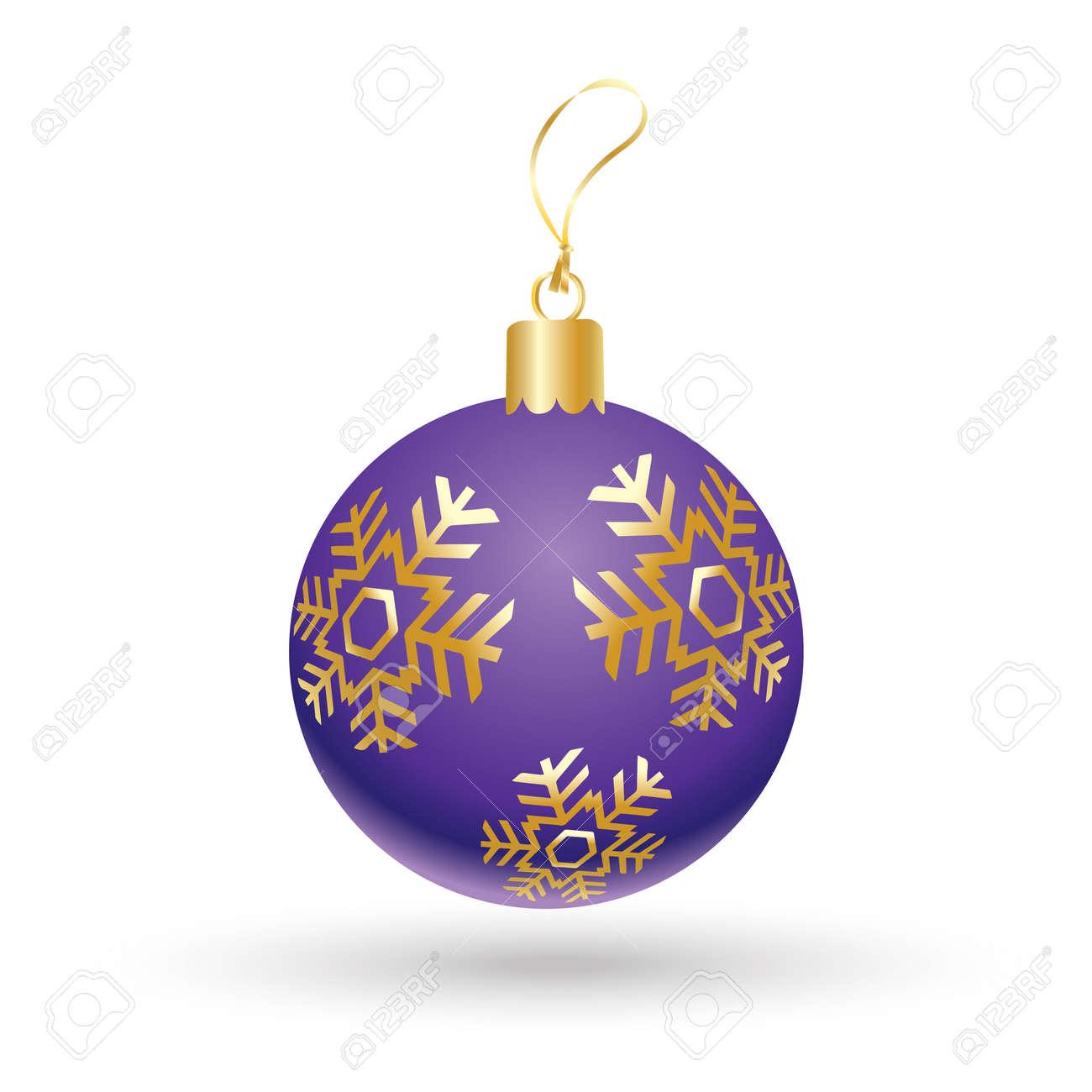 Christmas Ball. Christmas Ball With Gold Snowflakes Isolated ...