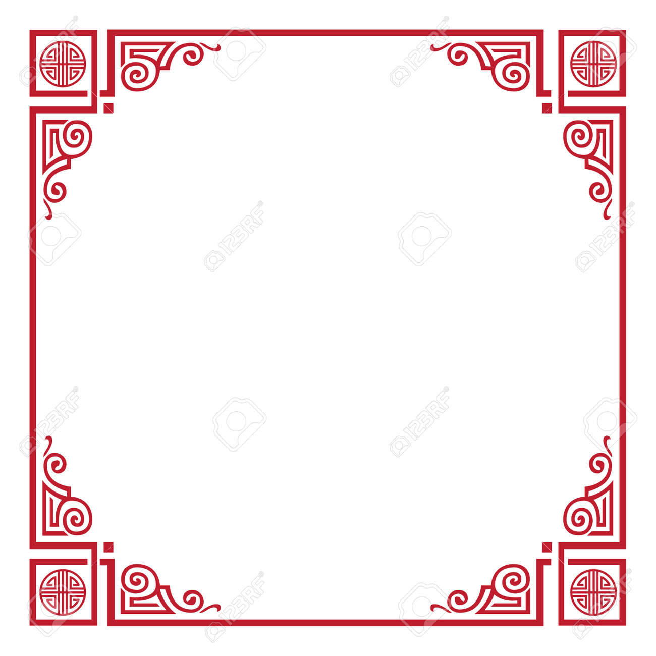 chinese new year greeting card red frame border chinese decoration traditional ornaments
