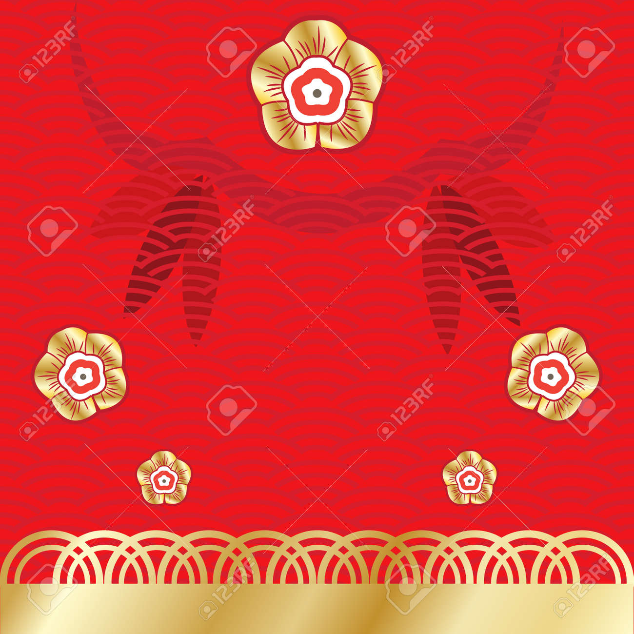 Vector Chinese New Year Greeting Card Decorative Background With